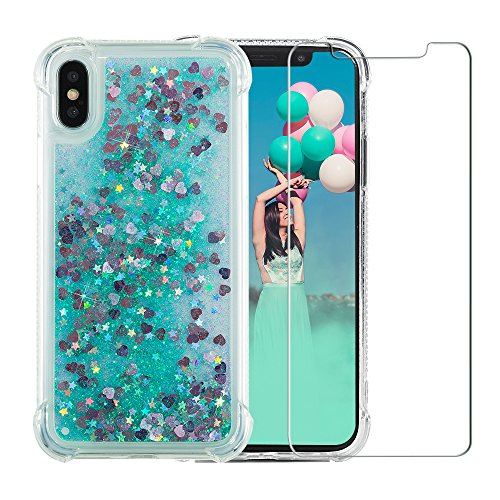 iPhone X Glitter Case, NOKEA [Liquid Series] Luxury Fashion Bling Flowing Liquid Floating Sparkle Glitter Girly TPU Case with Free Tempered Glass Screen Protector for iPhone X/iPhone 10 (Green)