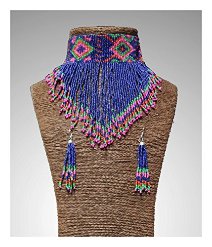 Native American Beaded Tribal Choker and Earrings Set (Royal Blue) (Chief Indian Princess Costume)