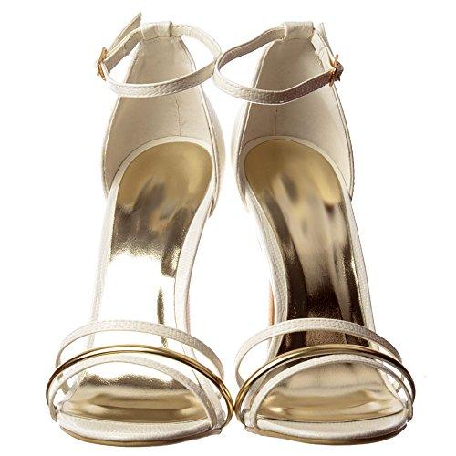 Onlineshoe Women's Ankle Strap Gold Detail Mid Heels Party Sandals White Lizard Ep7dolPC9D