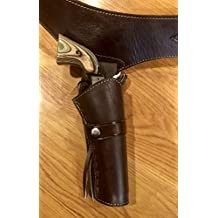 44/45 Caliber Plain Smooth Leather Cowboy Western Gun Holster and Belt
