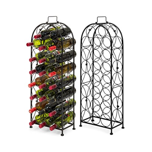 Metal Wine Rack Stand 23 Bottle Holders Solid Construction Liquor Cabinet Dining Room Kitchen Home Display Space-Efficient Storage - Number Phone Gardens Victoria
