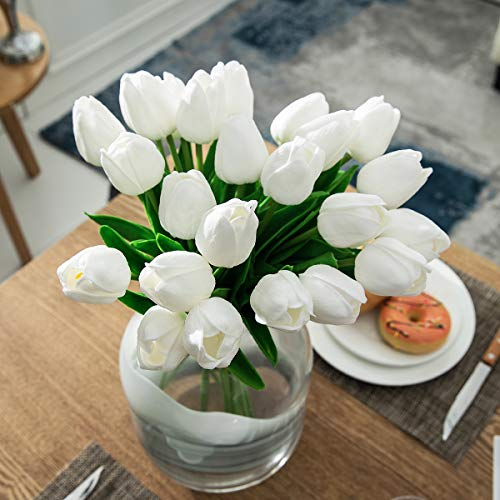 CountryGrass-24pcs-Artificial-Tulip-Flowers-Real-Touch-PU-Tulips-Floral-Arrangement-Yellow-White-Pink-14-for-Wedding-Home-Centerpiece-Decoration-Hotel-Party-Decoration-White