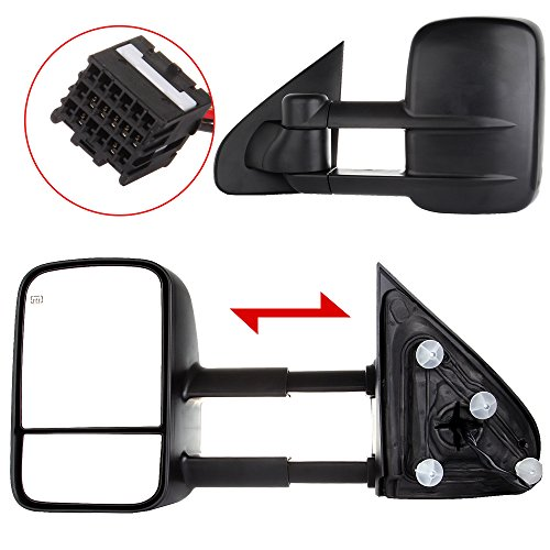 (ECCPP Towing Mirrors Replacement fit for 2014-2018 Chevy GMC Silverado Sierra 1500 2015-16 2500 HD 3500 HD Power Heated Mirrors)