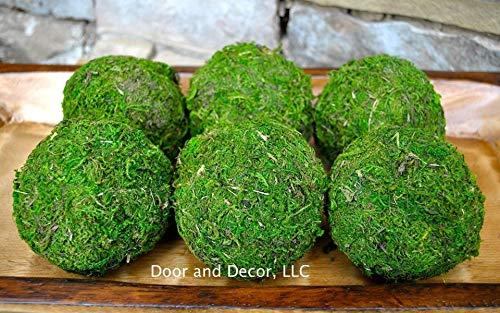 (Decorative Rustic Green Moss Balls in Three Sizes for Farmhouse Style Decor)