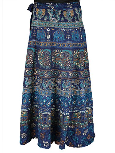 100% Cotton Wrap Around Skirt Jaipur Mandala Print with elephant and peacock pattern in Cool Pastel (Color Cotton Skirts)