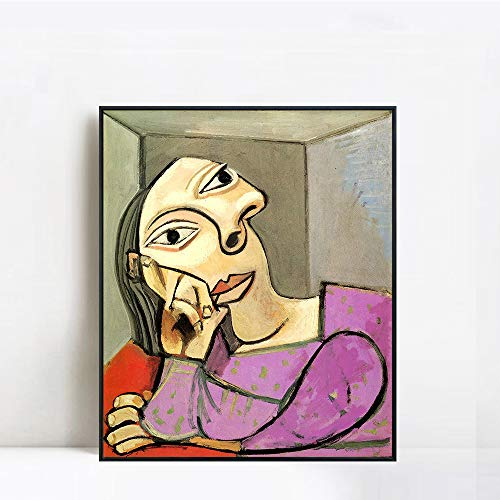 INVIN ART Framed Canvas Giclee Print Art 1939 Femme accoudée by Pablo Picasso Wall Art Living Room Home Office Decorations(Black Slim Frame,24