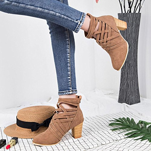 Hemlock High Heel Ankle Boots, Womens Ladies Wedge Shoes Sandals Boots Martin Boots Party Dress Martens (Brown, ()