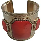 Brass Three Peachy-Pink Fashion Stones Ethnic Tribal Belly Dance Fashion Adjustable Cuff Indian Bracelet
