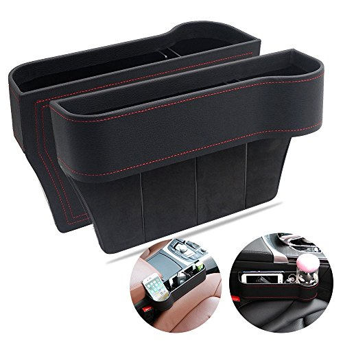 VVHOOY Car Seat Gap Filler,PU Leather Seat Console Organizer Pocket, Car Seat Catcher Between Seats Organizer for Wallet Cellphone Coins Keys Cards Drink Cups Candy Glasses Holder Box (2 Pack,Black)