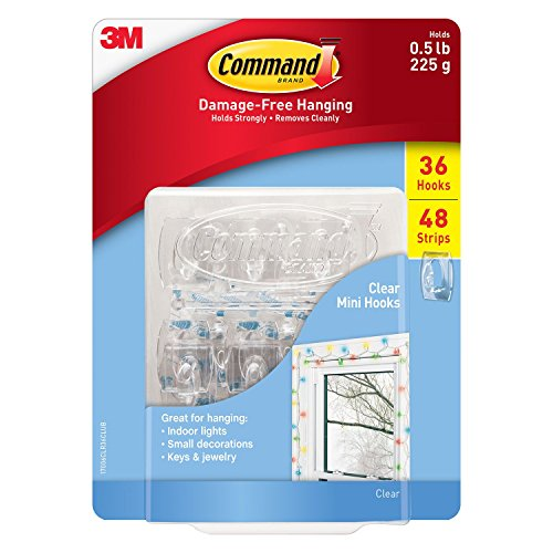 Command Clear Mini Hooks, Clear, 36 hooks, 48 strips by Command