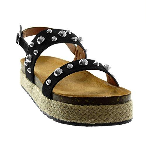 Angkorly Zapatillas Moda Sandalias Mules Correa de Tobillo Plataforma Mujer Tachonado Perla Cuerda Plataforma 4 cm Negro