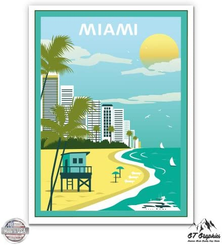 Vinyl Sticker Waterproof Decal GT Graphics Miami Vintage Travel Poster Style