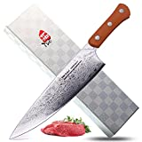 TUO Cutlery Damascus Chef's Knife 9' Orange Handle - Uchef SeriesJapanese 67 Layers VG-10 Damascus Steel Green Handle