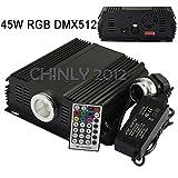 DMX 45W RGB LED Fiber Optic Engine Driver+28key RF Remote controller for all kinds fiber optics