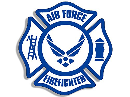 American Vinyl Maltese Shaped AIR Force Firefighter Sticker (Service fire USAF)