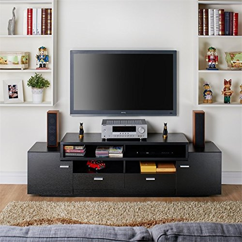 Furniture of America Braswell Wood 72-inch Multi-Storage TV Stand in Black
