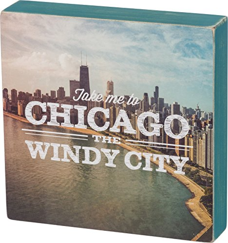 Primitives By Kathy Chicago City Wood Box Sign 8 x 8 x 1.5 inches