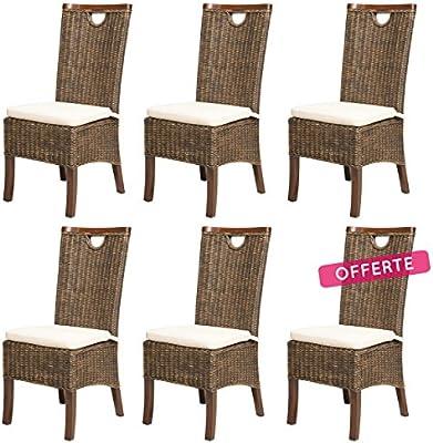 REBAJAS : 66% Lote de 6 sillas para comedor moka modernas y