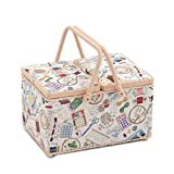 Hobby Gift 'Sewing Notions' Large Twin Lid Rectangle Sewing Box 18 x 31 x 21cm (d/w/h)