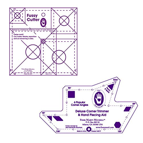Marti Michell Quilting Templates – 2 Items: Deluxe Corner Trimmer and Multi-Size Fussy Cutter by Marti Michell