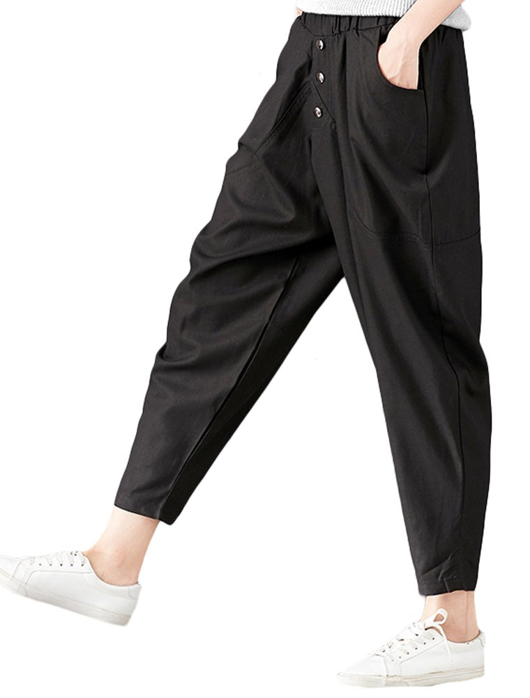 Mordenmiss Women's Loose Elastic Waist Pull-on Pants with Side Pockets Black L by Mordenmiss (Image #1)