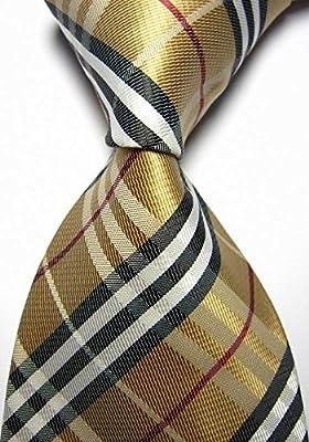 New Classic Checks Gold Black Brown JACQUARD WOVEN 100/% Silk Men/'s Tie Necktie