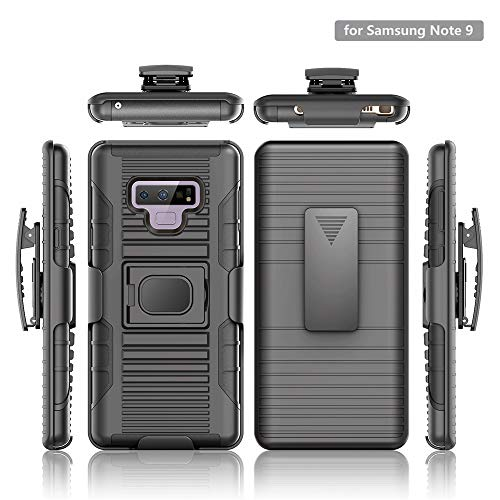 Stronden Galaxy Note 9 Belt Case - Holster Case Belt Clip (Rubberized Grip) Slim Fit Protective Cover with Kickstand, Combo Shell Holder for Samsung Note 9 (Black) by Stronden