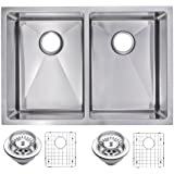 Water Creation SSSG-UD-2920A 29  X 20  15 mm Corner Radius 50/50 Double Bowl Stainless Steel Undermount Kitchen...