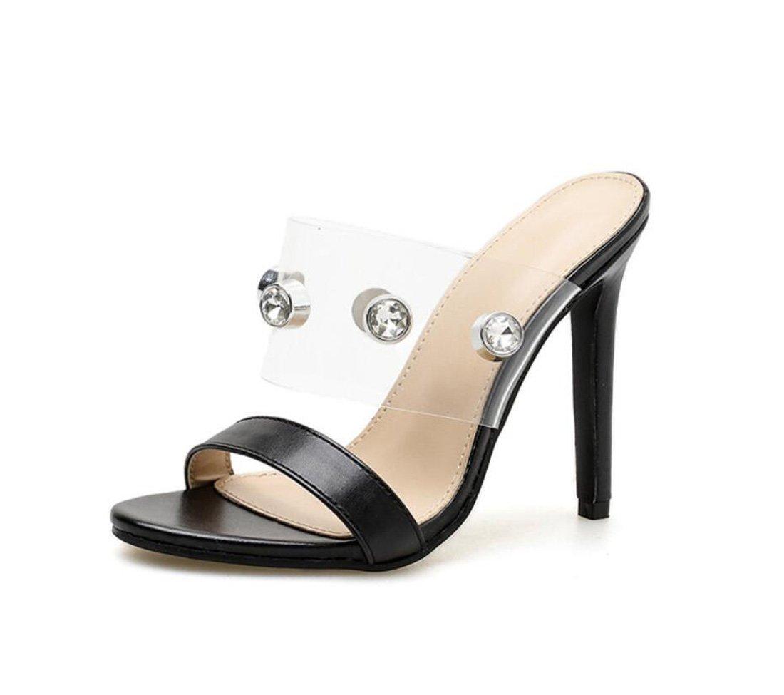 ZXMXY damen Sandalen Transparent Strass Sexy Stiletto Ferse Ferse Ferse Hausschuhe Outdoor Fashion Bequeme Schuhe Sandalen im Freien 1356ea
