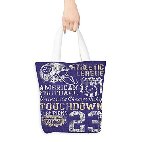(Travel Shoulder Tote BagRetro American Football College Version Illustration Athletic Championship Apparel Blue Wh Durable and Practical W16.5 x H14 x D7 INCH)