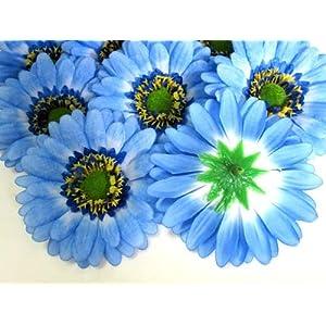 "(12) BIG Silk Blue Gerbera Daisy Flower Heads , Gerber Daisies - 3.5"" - Artificial Flowers Heads Fabric Floral Supplies Wholesale Lot for Wedding Flowers Accessories Make Bridal Hair Clips Headbands Dress 3"