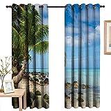 LewisColeridge Customized Curtains Seaside Decor,Romantic Beach Tranquil Scene Palm Trees Caribbean Island Nature