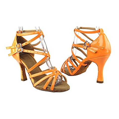 Party Party SERA5008 Dance Evening Dress Shoes with Sole Stopper, Fluorescent Orange, 2.5