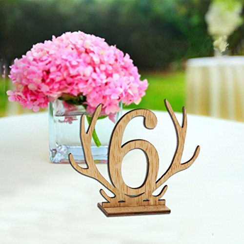 Wellinc Table Numbers 20 Pack (Number 1-20) Wedding Wood Table Numbers Unique Design Party Table Cards for Wedding Events and Banquet by Wellinc (Image #2)
