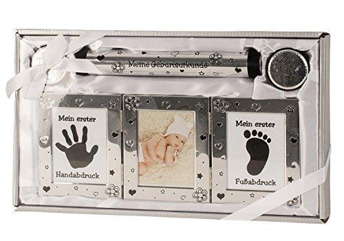 Juego de bebé en plata inclusive Marco, 2 Botes para Dientes de leche y pelo, Tubo para documentos de recién Nacido al cliente y Yeso para Mano y Huellas de pie 22x37 cm Mel O Design