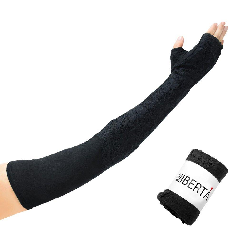 [リベルタ]LIBERTA 日焼け 防止 日除け UVカット 紫外線 手袋 アームカバー ロング グッズ 運転 指なし 指穴 スマホ モダール レース 3カラー