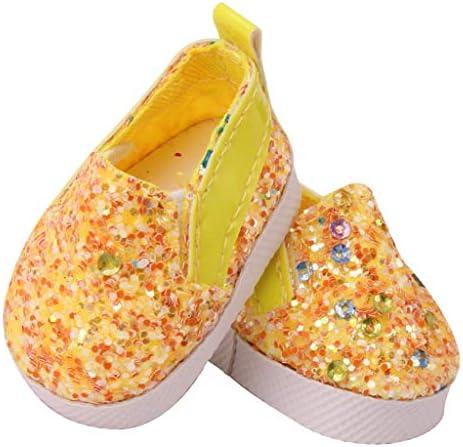 ドールシューズ 14.5インチ人形の靴 フラットシューズ 靴道具 早期開発 実践力 全6色 - 黄