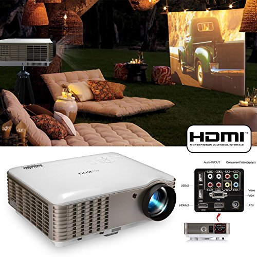 EUG Dual HDMI HD 1080p 3900 Lumens LCD LED Image System Home Theater Cinema Projector iPhone iPad Cell Phone PC Blu-ray Xbox PS3 Mac TV Compatible for Movie Gaming with USB HDMI VGA AV (22' Hd Ready Lcd)