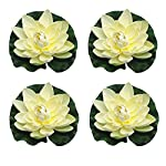ZHU-YU-CHUN-Large-Artificial-Floating-Lotus-Flowers-Home-Garden-Pond-Aquarium-Wedding-Decor-White-Pack-of-4