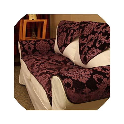 Sofa Slipcovers Leather Sofa Cover Sofa Towel Sofa Mat Chenille Jacquard Non-Slip Sofacover Four Seasons,Purple,60180Cm