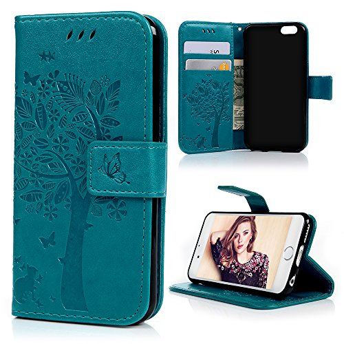 iPhone 6 Case,iPhone 6S Case (4.7 inch), YOKIRIN [Wallet Case] Premium Soft PU Leather Notebook Wallet Embossed Flower Tree Design Case with [Kickstand] Stand Function Card Holder and ID Slot Slim Flip Protective Skin Cover for iPhone 6 ,iPhone 6S, Blue