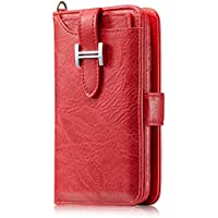 Kingto iPhone 8 plus/iPhone 7 plus Case,Zipper Wallet Case,Holster Carrying Case with Card Holder(red)