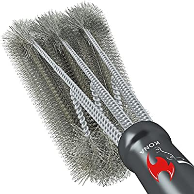 "360° CLEAN GRILL BRUSH, Kona(TM) 18"" Best BBQ Grill Brush - Stainless Steel 3-In-1 Grill Cleaner Provides Effortless Cleaning, Great Grill Accessories Gift"