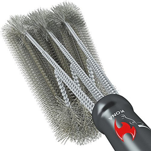 360 CLEAN GRILL BRUSH By Kona - 18 Best BBQ Grill Brush - 3 Stainless Steel Brushes In 1 Provides Effortless Cleaning - FREE 5 YEAR REPLACEMENT - Great BBQ Accessories Gift - Stiff Light Weight Design - Perfect For Weber Char-Broil Porcelain & I...