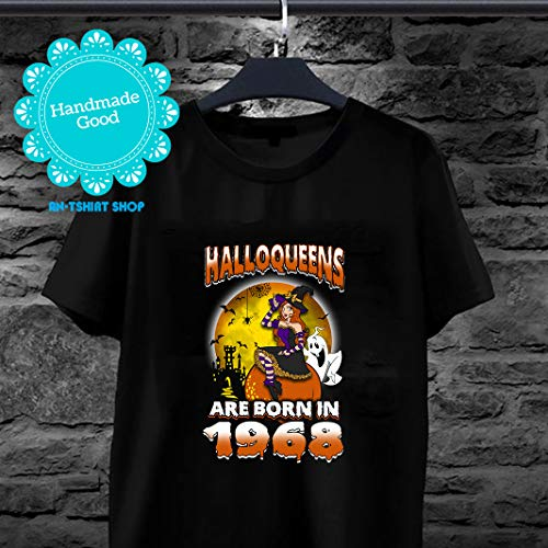 Halloqueens Are Born In 1968 Halloween Woman T shirts for biker]()