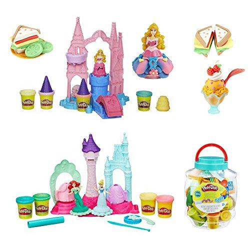 Bucket Princess Set (Play-Doh Playset Play-Doh Mix 'N Match Magical Designs Palace Set with Disney Princess Aurora, Disney Royal Palace with Cinderella and Ariel, Create 'N Store 30 Count Bucket with Tools, Kids Art)