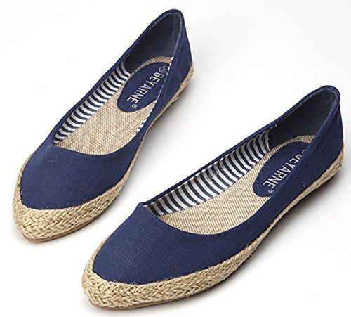 IDIFU Womens Pointy Slip On Canvas Espadrille Flats Shoes Wide Width Blue z94AqKRf