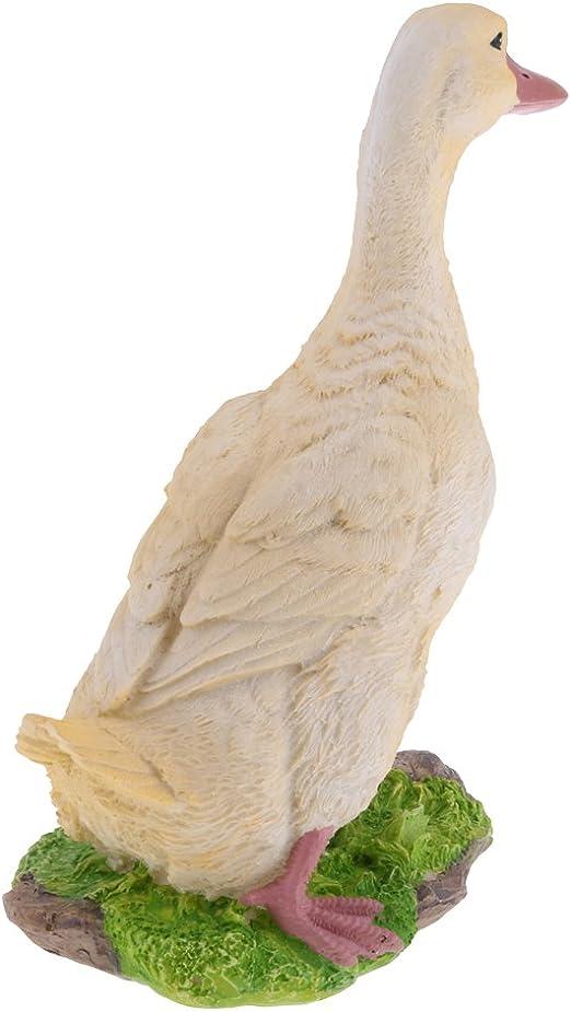 Gelb//Wei/ß FLAMEER Dekofigur Gans Ente Vogel Gartenfigur Tierfigur Weihnachten Garten Teich Deko Gelb M