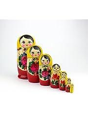 Russische Nestelpoppen, 7 Traditionele Matroesjka Klassieke Semjonov Gele Stijl | Baboesjka Houten Poppen Geschenk Speelgoed, Handgemaakt in Rusland | Semjonov Geel, 7 stuks, 18 cm