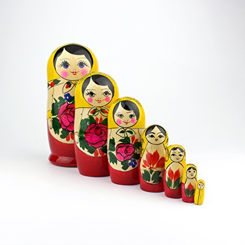 "Heka Naturals Matryoshka Russian Nesting Dolls Semenov Classic Babushka Hand Made in Russia Yellow Top Wooden Gift Toy (7 Dolls (7""x3""))"